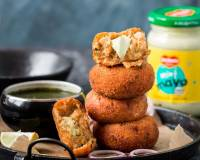 Stuffed Potato Cutlet Recipe With Mint Mayo