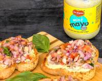 Tomato Onion Bruschetta With Mint Mayo Recipe