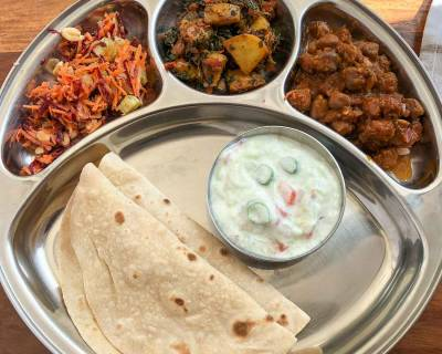 Portion Control Meal Plate : Chole Pindi, Aloo Methi Masala, Tomato Onion Raita, Carrot & Radish Salad and Phulka
