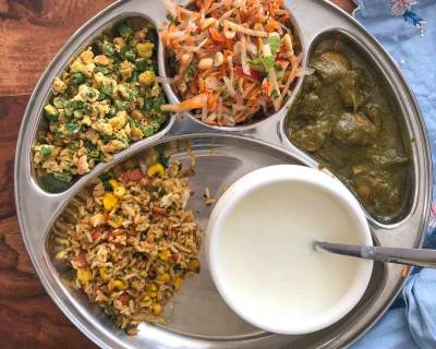 Portion Control Meal Plate : Corn Pulao, Mushroom Palak, Egg and Beans Bhurji, Carrot Salad and Homemade Curd