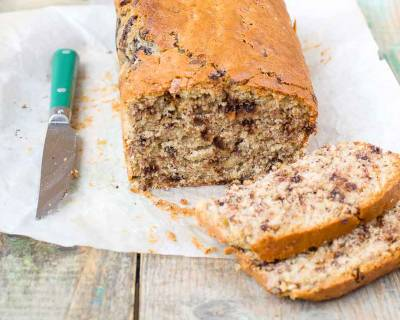 Banana Peanut Butter Chocolate Chunk Loaf Recipe with Archana's Kitchen Eggless Rich Vanilla Cake Mix