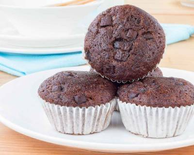 Chocolate Banana Muffins Made From Archana's Kitchen Eggless Rich Chocolate Cake Mix