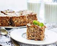 Eggless Date & Walnut Oatmeal Cake Recipe