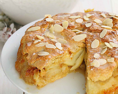 German Apple Cake Recipe Made with Archana's Kitchen Eggless Rich Vanilla Cake Mix