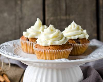 Eggless Carrot Cupcake Recipe with Cream Cheese Frosting