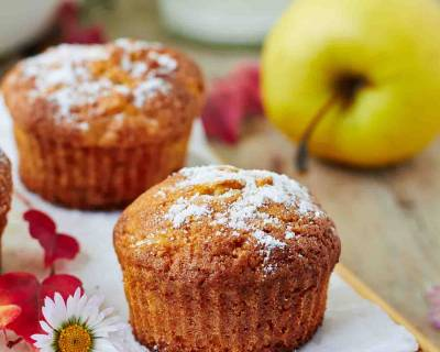 Eggless Whole Wheat Apple Muffins Recipe-Vegan Options
