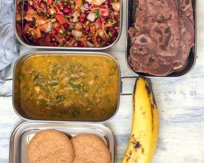 Lunch Box Recipes: Ragi Tawa Paratha, Sai Bhaji, Sprouts Salad & Banana