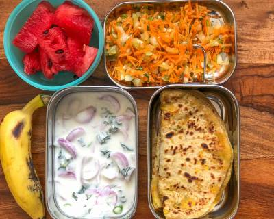 Lunch Box Recipes: Mooli Paneer Paratha,  Onion Raita & Carrot Salad