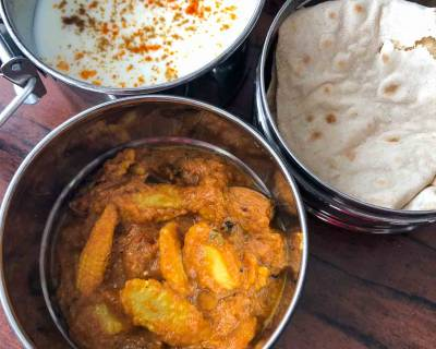 Lunch Box Recipes: Baby Corn Butter Masala, Phulka & Burani Raita