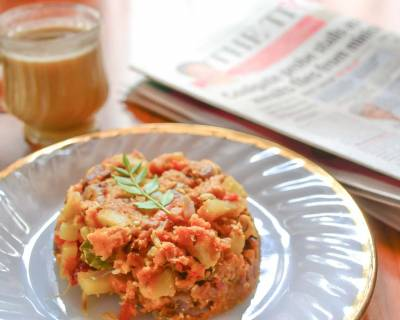 Scrambled Egg Bread Upma Recipe With Potatoes