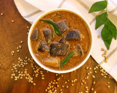 Kathirikai Pitlai Recipe - South Indian Tangy & Spicy Brinjal Curry