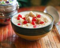 Kela Anar Raita Recipe  (Banana Pomegranate Yogurt Dip Flavoured With Mustard)