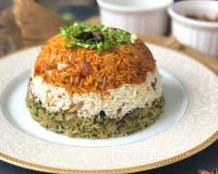 Layered Vegetable Tricolor Biryani Recipe