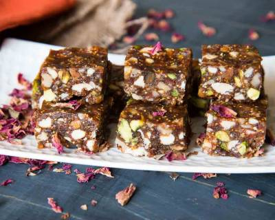 Dry Fruit Burfi Recipe With Gulkand