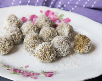 Green Tea Coconut Ladoo Recipe - Coconut Energy Balls