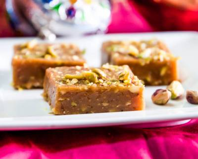 Traditional Gujarati Mohanthal Recipe - Gram Flour Fudge with Nuts and Saffron