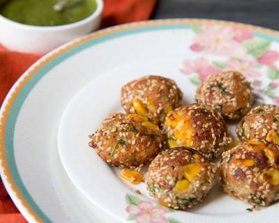 Pan Fried Corn & Cheese Bites Recipe -Corn & Paneer Balls