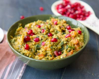 Baingan Methi Ka Bharta Recipe with Pomegranates