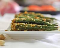 Bharva Bhindi Recipe - Pan Fried Stuffed Okra With Spices & Peanuts