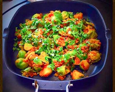 Indian Spiced Brussel Sprouts Sabzi Recipe (Brussel Sprouts Stir Fry)