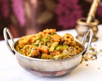 Kadai Vegetable Sabzi Recipe (Mixed Vegetable Saute with Spices)