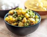 Shakarkand Beans Subzi Recipe (Spicy Sweet Potato Beans Stir fry)