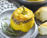 Vegetarian Stuffed Bell Peppers with Spiced Potato Recipe (Stuffed Capsicum)