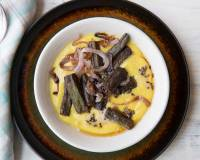 Dahi Bhindi Recipe (Okra in Yogurt Curry with Caramelized Onions)