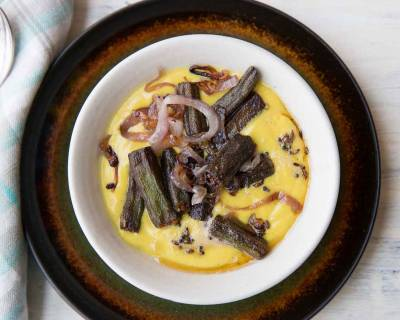 Dahi Bhindi Recipe - Okra in Yogurt Curry with Caramelized Onions