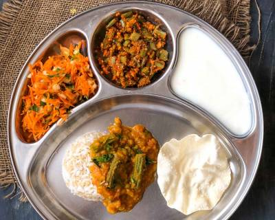 Portion Control Meal Plate:Drumstick Dal,Goru Chikkudukaya,Rice Quinoa,Vadam,Salad & Curd