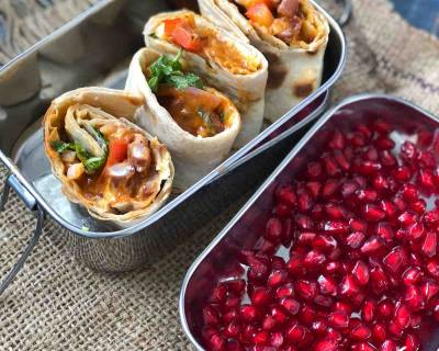 Kids Lunch Box Recipes: Rajma Wrap With Sandwich Spread And Fruits
