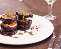 Grilled Eggplant With Tahini & Yogurt Dip Recipe