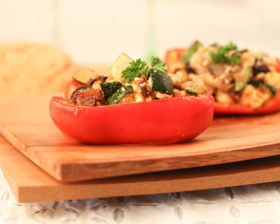 Stuffed Peppers with Roasted Vegetables Oats and Paneer