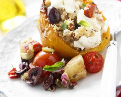 Mediterranean Stuffed Pepper Recipe (with Zucchini, Olives, Couscous & Feta)