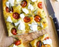 Focaccia Bread Recipe With Cherry Tomatoes, Basil Pesto And Goat Cheese