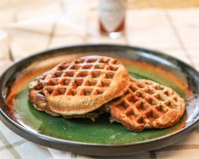 Savory Multigrain Waffles Recipe with Green Chillies & Tabasco Sauce