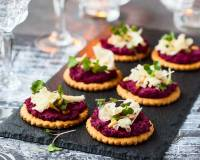 Beetroot Dip Recipe Served With Crackers