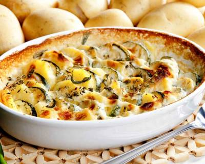 Roasted Potatoes & Zucchini Bake Recipe In A Creamy Parsley Sauce