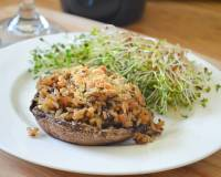 Stuffed Portobello Mushrooms Recipe With 7 Grain Rice And Sprout Salad
