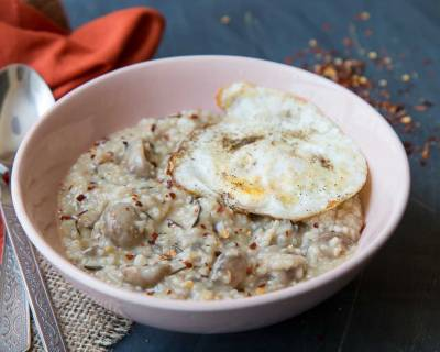 Rosemary Mushroom Oatmeal With Fried Eggs