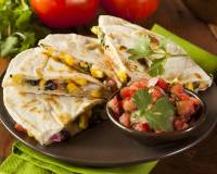 Corn & Soy Quesadillas with Spicy Mexican Salsa