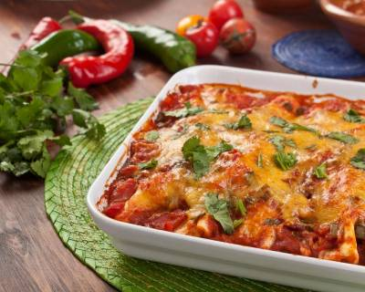 Mexican Vegetarian Bean & Cheese Enchiladas Recipe