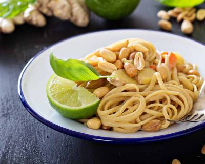Peanut & Ginger Pasta With Vegetables & Lime Recipe