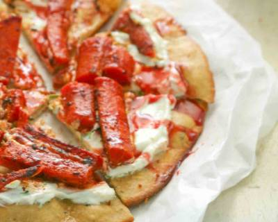Harissa Roasted Carrot Pizza With Pomegranate Sauce & Greek Yogurt Recipe