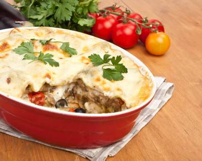Roasted Eggplant & Olive Lasagna Recipe