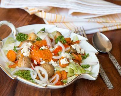 Grilled Vegetable and Oat Salad Recipe with Feta Cheese