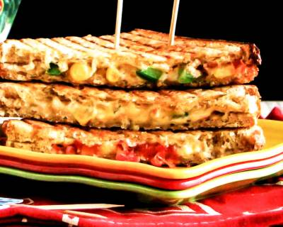 Cheesy Sweet Corn Grilled Sandwich Recipe