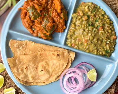 Mouthwatering North Indian Meal Of Dhaba Style Green Moong Dal Tadka, Veg Makhanwala & Phulka