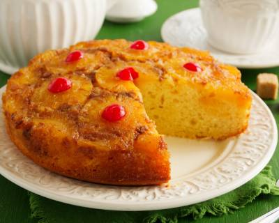 Pineapple Upside Down Cake Made with Archana's Kitchen Eggless Rich Vanilla Cake Mix