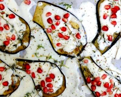 Grilled Aubergines with Tzatziki Sauce Recipe